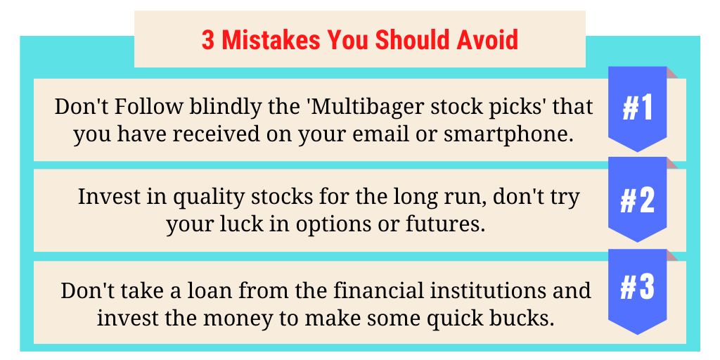 Mistakes You Should Avoid while Investing in the stock market